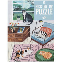 Cats at Home Puzzle 500 pieces - Freshie & Zero | artisan handmade hammered jewelry | handmade in Nashville, TN