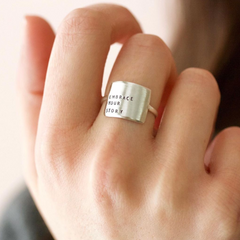 You Belong Here - Hand Stamped Message Sterling Silver Ring - Freshie & Zero Studio Shop