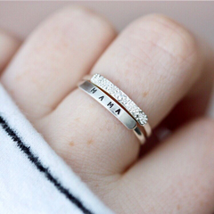 Mama: Hand Stamped Message Stacking Ring - Freshie & Zero Studio Shop