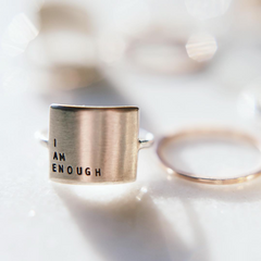 Embrace Your Story - Hand Stamped Message Sterling Silver Ring - Freshie & Zero Studio Shop