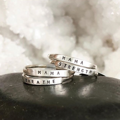Hand Stamped Message Tiny Stacking Ring by Christina Kober - Freshie & Zero | artisan handmade hammered jewelry | handmade in Nashville, TN