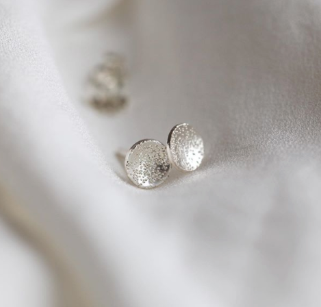 Stud Earrings Circle Dot Diamond Dusted (mini)