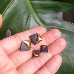 Small Gold Dipped Geometric Studs in Teal