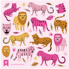 Neon Pink Lions & Tigers Sticker Sheet - Freshie & Zero Studio Shop
