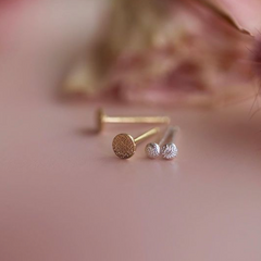 Stud Earrings Circle Fleck Diamond Dusted (extra tiny) - Freshie & Zero Studio Shop