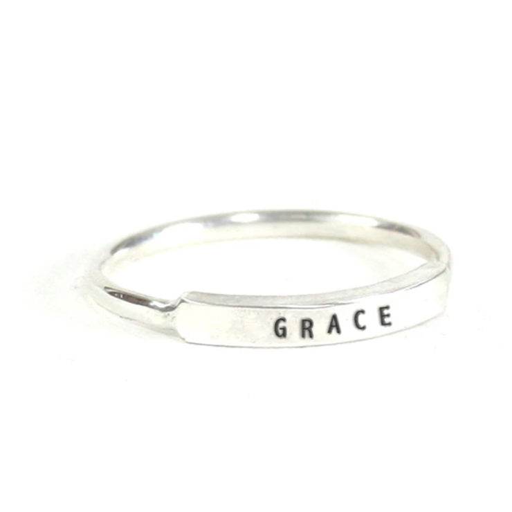Grace: Hand Stamped Message Stacking Ring - Freshie & Zero Studio Shop