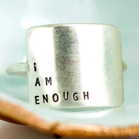 Hand Stamped Inspirational Message Sterling Silver Ring by Christina Kober