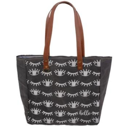 Hello Winking Eyes Canvas Tote - Freshie & Zero Studio Shop