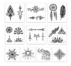 Hand Drawn Temporary Tattoos - Freshie & Zero | artisan handmade hammered jewelry | handmade in Nashville, TN