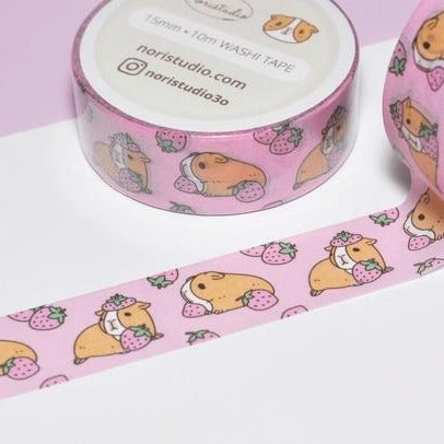 washi tape: Pink Strawberries and Guinea Pigs