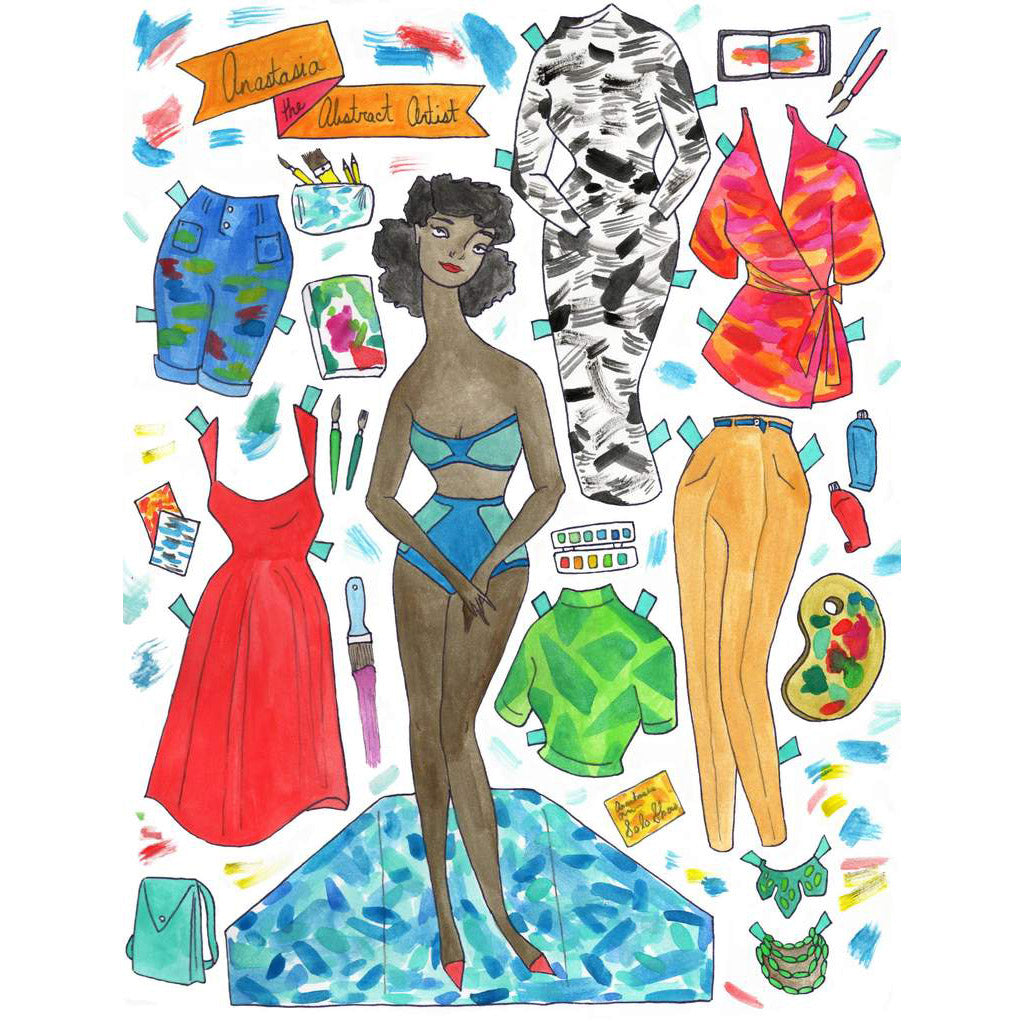Paper Doll Art Print - Anastasia the Abstract Artist - Freshie & Zero Studio Shop