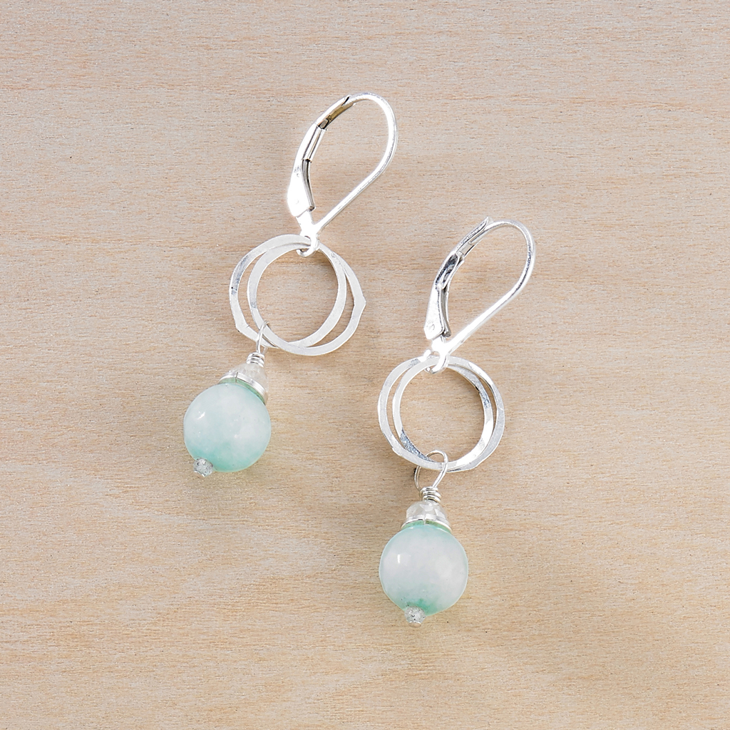 Audrey Earrings - Jade - Freshie & Zero | artisan handmade hammered jewelry | handmade in Nashville, TN