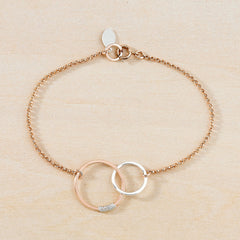 rose gold and silver circle bracelet mixed media