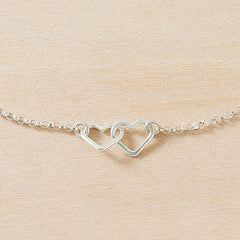 two tiny hearts dainty bracelet - handmade sterling silver