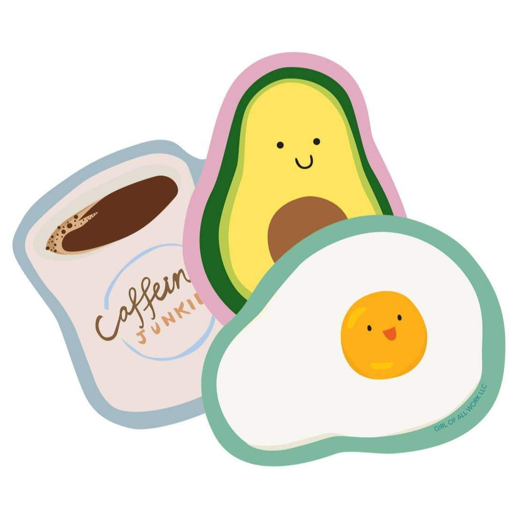 set of 3 breakfast stickers, cute avocado, fried egg, diner coffee mug
