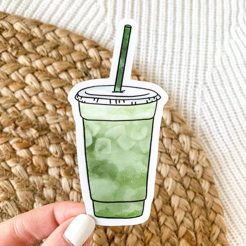 Matcha Green Tea Latte Cup Sticker