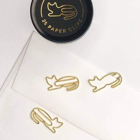Gold Cat Paper Clips