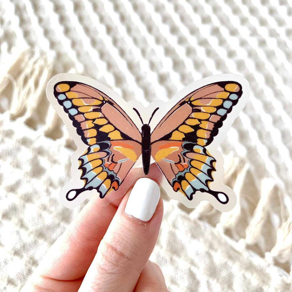 Clear Pink Swallowtail Butterfly Sticker, 3x3 in. - Freshie & Zero