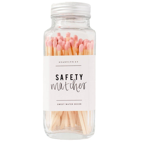 Safety Matches in Glass Jar: Pink
