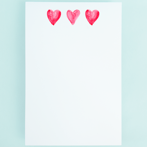 Notepad - 3 Pink Hearts