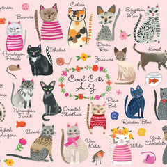Jigsaw Puzzle Cats A-Z pink illustrated cute puzzle