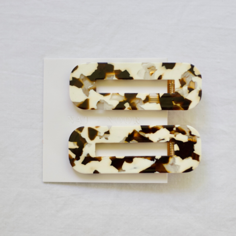 Acrylic Hair Clips in Cocoa Cream Tortoise