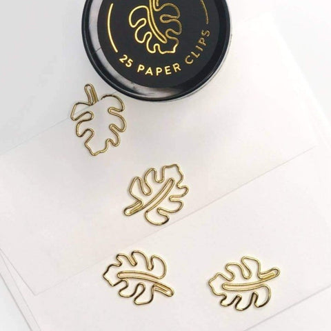 Gold Monstera Paper Clips