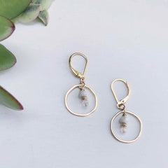 Sunrise Moonstone and Gold Circle Earrings - Freshie & Zero | artisan handmade hammered jewelry | handmade in Nashville, TN