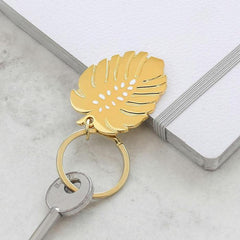 Gold Monstera Leaf Keyring - Freshie & Zero Studio Shop