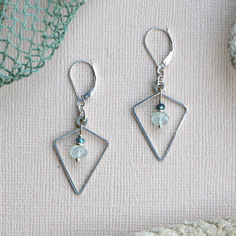 Vivid Ocean Aquamarine Silver Geometric Dusky Coast Earrings