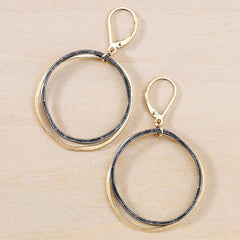 black and gold stacked circles nickel free handmade earrings - freshie & zero