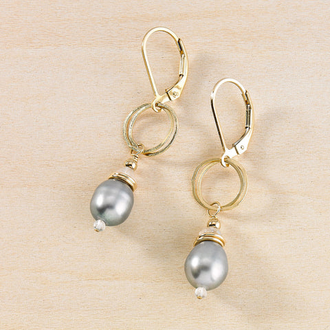 Audrey earrings - Grey Pearl