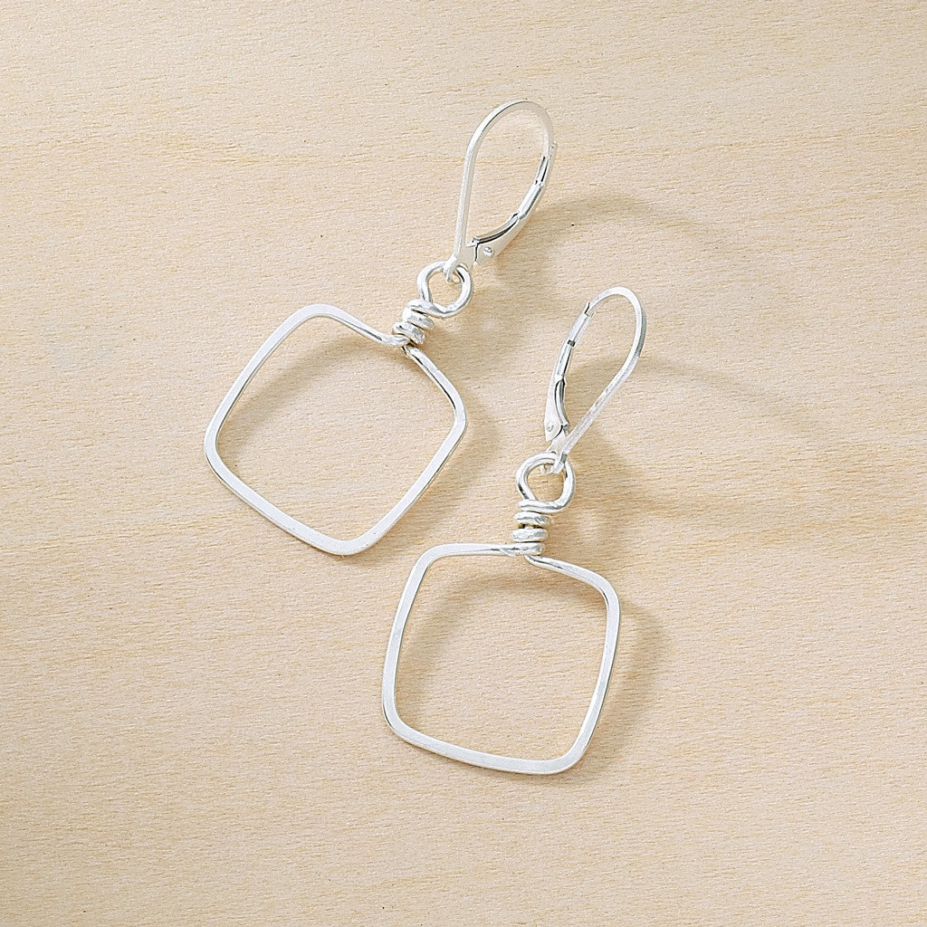 Square sterling silver hammered wire earrings