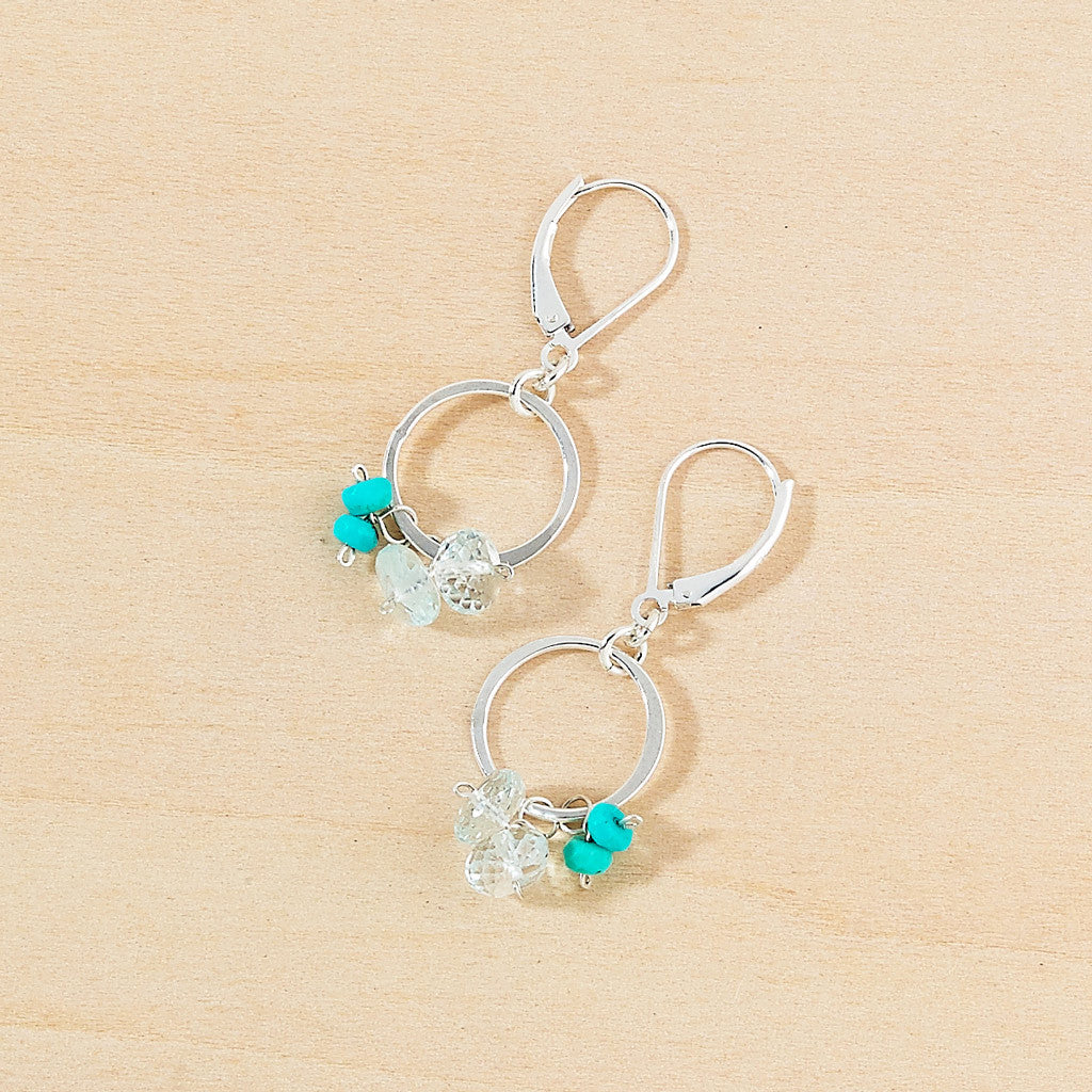 Genuine turquoise beaded simple circle earrings