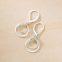Shiny Sterling silver small and large layered circles lever back earrings