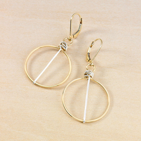 silver striped gold honey earrings