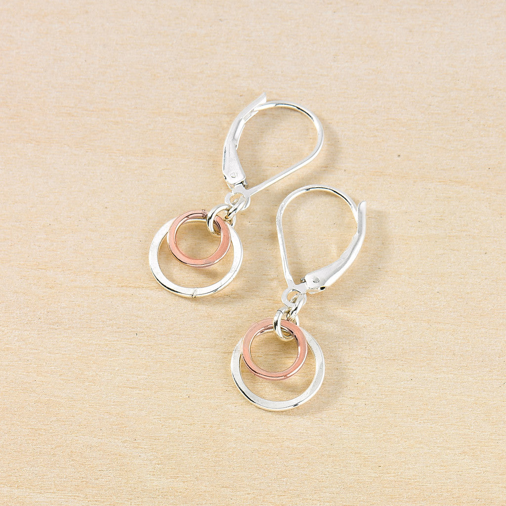 tiny silver and pink circles earrings