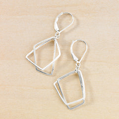 hammered wire handmade geometric earrings - two stacked trapezoid shapes