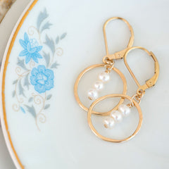 pretty bridal handmade earrings - freshwater pearls in hammered gold filled circles