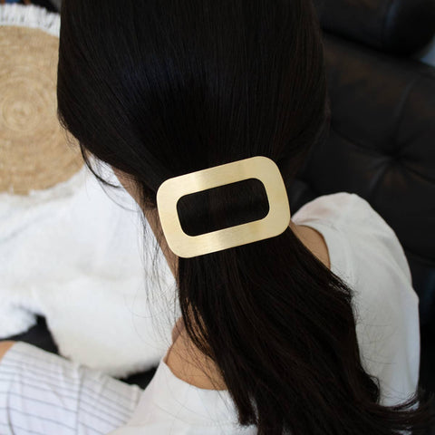 Rounded Square Golden Metal Glam Hair Barrette