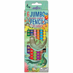 6 Double Sided Jumbo Colored Pencils - Otters at Play - Freshie & Zero Studio Shop | Creative Gifts