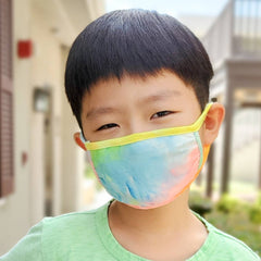 super soft reusable washable face mask for kids rainbow tie die