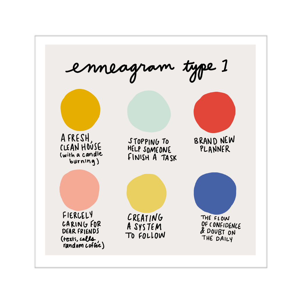 Enneagram Type 1 Art Print 6x6 - Freshie & Zero Studio Shop