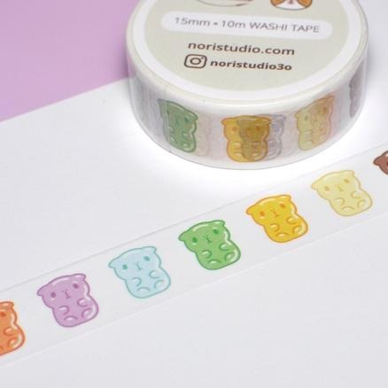 gummy bear guinea pig rainbow washi tape by noristudio
