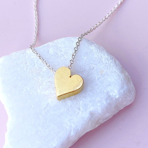 Tiny Mighty Heart of Gold Necklace