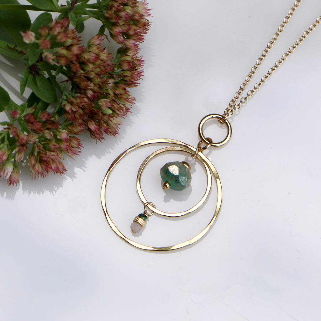 Golden Compass Necklace - Through the Trees - Freshie & Zero | artisan handmade hammered jewelry | handmade in Nashville, TN
