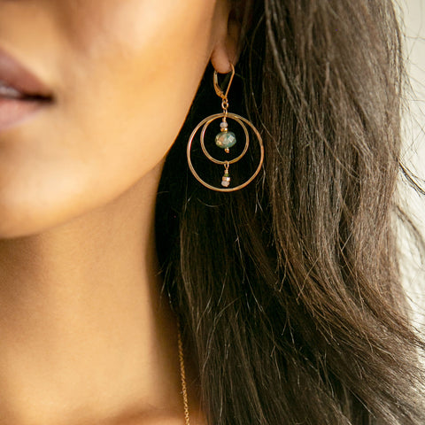 Golden Compass Earrings - Through the Trees