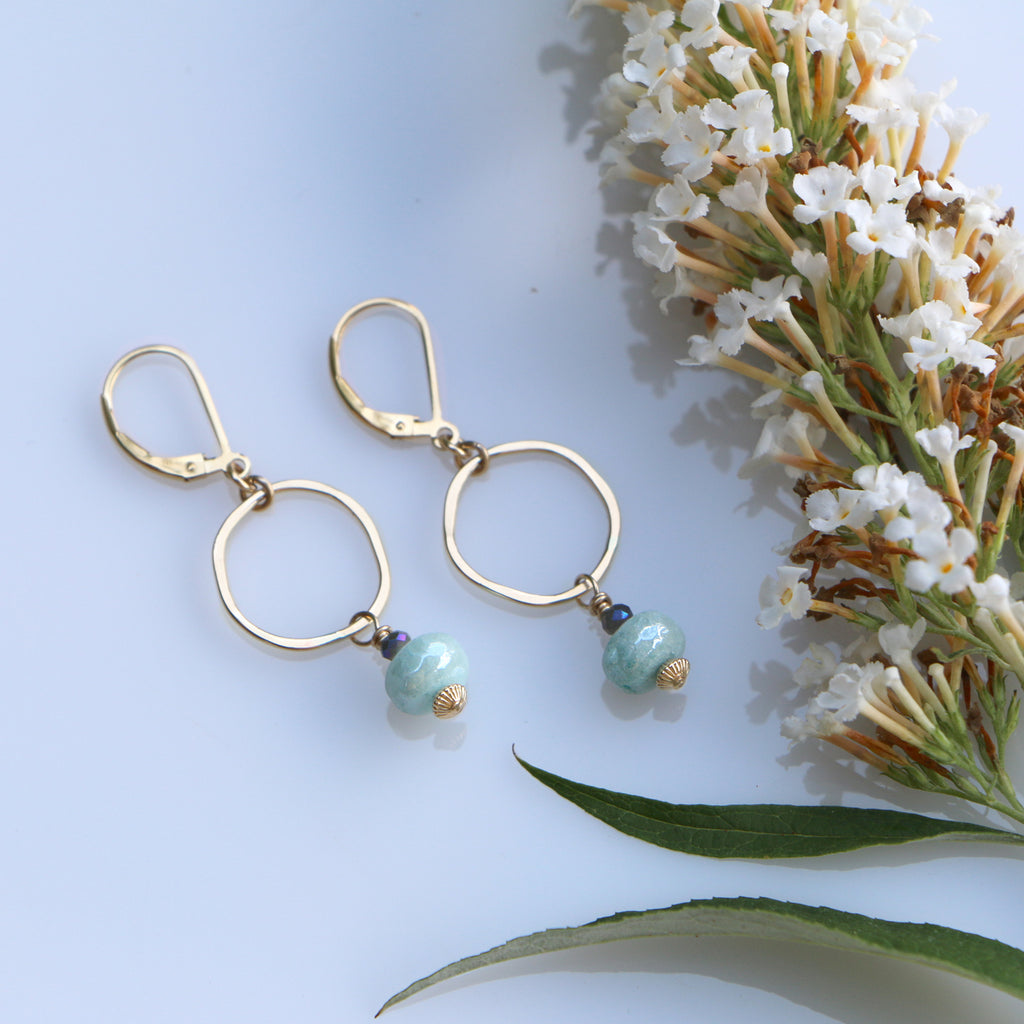 Golden Sky Earrings - Through the Trees - Freshie & Zero | artisan handmade hammered jewelry | handmade in Nashville, TN