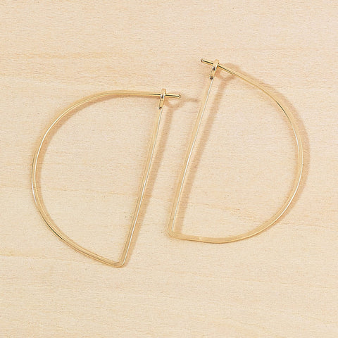 minimal half moon hoops - large