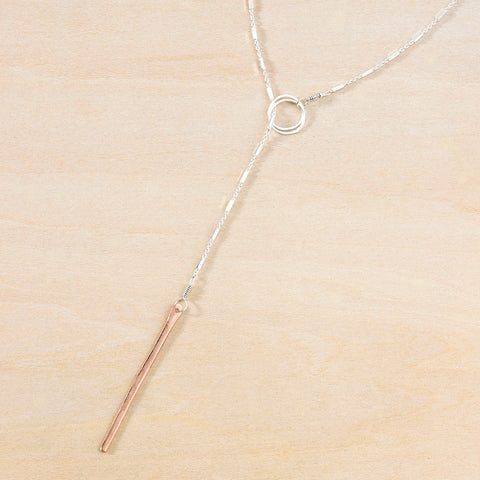 stem lariat - rose gold bar